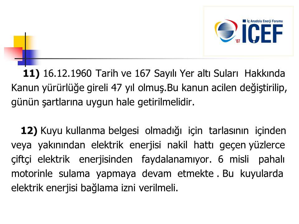 11) 16.12.1960 Tarih ve 167 Sayılı Yer altı Suları Hakkında Kanun yürürlüğe gireli 47 yıl olmuş.Bu kanun acilen değiştirilip, günün şartlarına uygun h