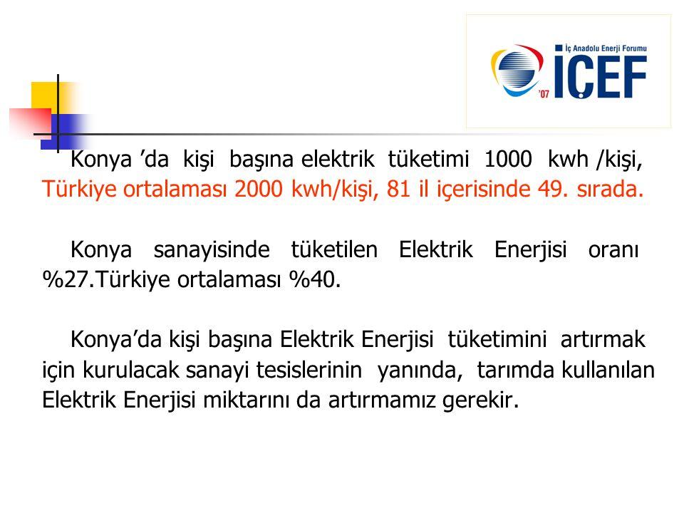 Konya 'da kişi başına elektrik tüketimi 1000 kwh /kişi, Türkiye ortalaması 2000 kwh/kişi, 81 il içerisinde 49. sırada. Konya sanayisinde tüketilen Ele