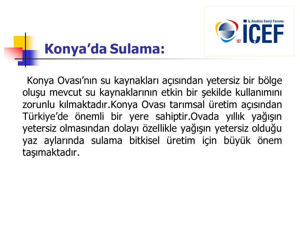 Konya'da Sulama: Konya Ovası'nın su kaynakları açısından yetersiz bir bölge oluşu mevcut su kaynaklarının etkin bir şekilde kullanımını zorunlu kılmak