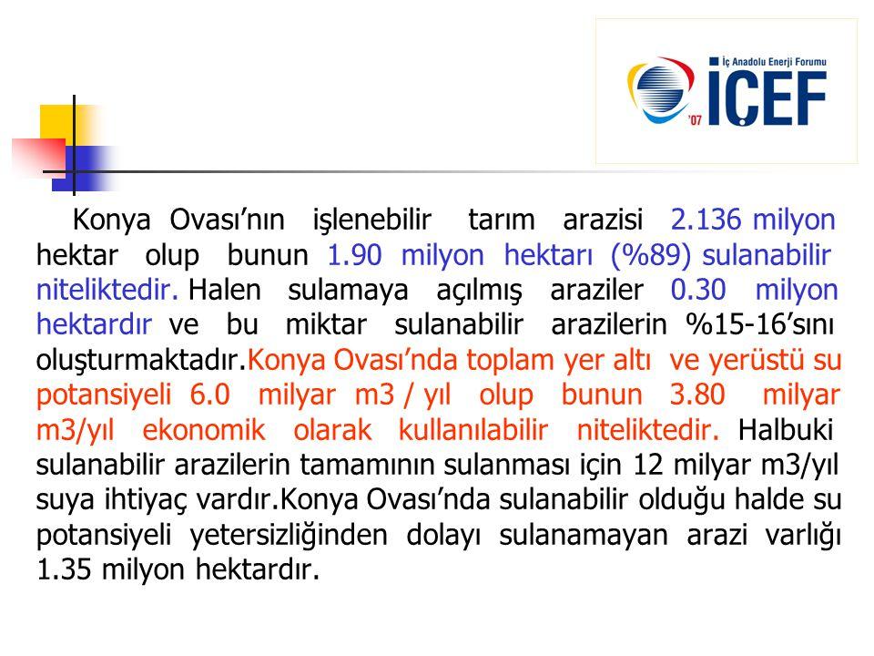 Konya Ovası'nın işlenebilir tarım arazisi 2.136 milyon hektar olup bunun 1.90 milyon hektarı (%89) sulanabilir niteliktedir. Halen sulamaya açılmış ar