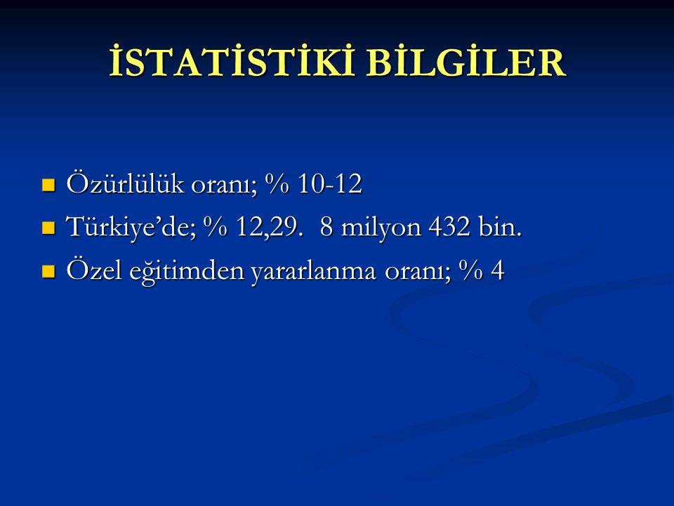 İSTATİSTİKİ BİLGİLER  Özürlülük oranı; % 10-12  Türkiye'de; % 12,29.