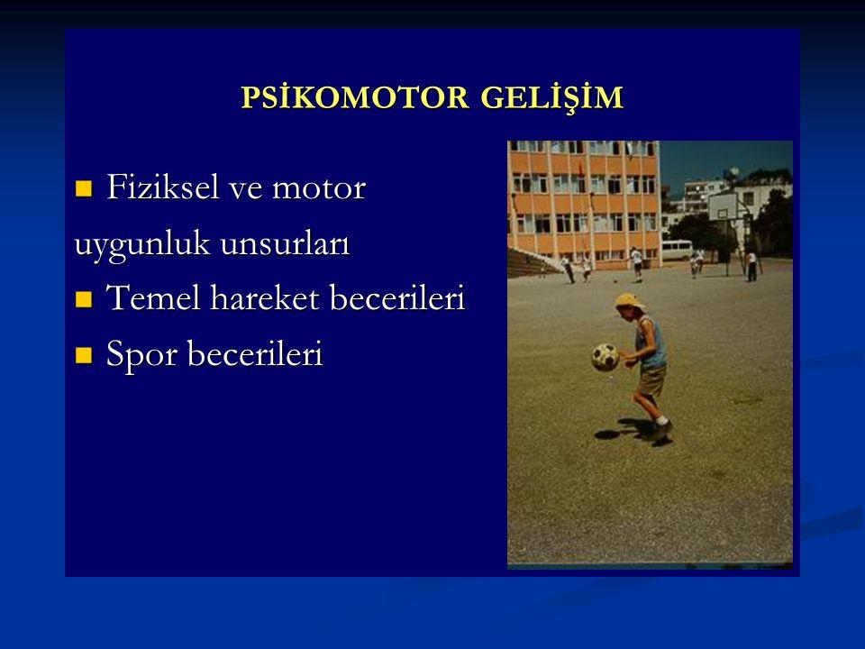 PSİKOMOTOR GELİŞİM  Fiziksel ve motor uygunluk unsurları  Temel hareket becerileri  Spor becerileri