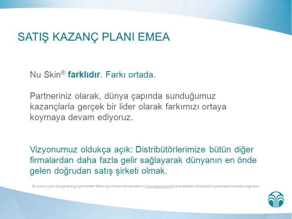 SATIŞ KAZANÇ PLANI EMEA Nu Skin ® farklıdır. Farkı ortada. Partneriniz olarak, dünya çapında sunduğumuz kazançlarla gerçek bir lider olarak farkımızı