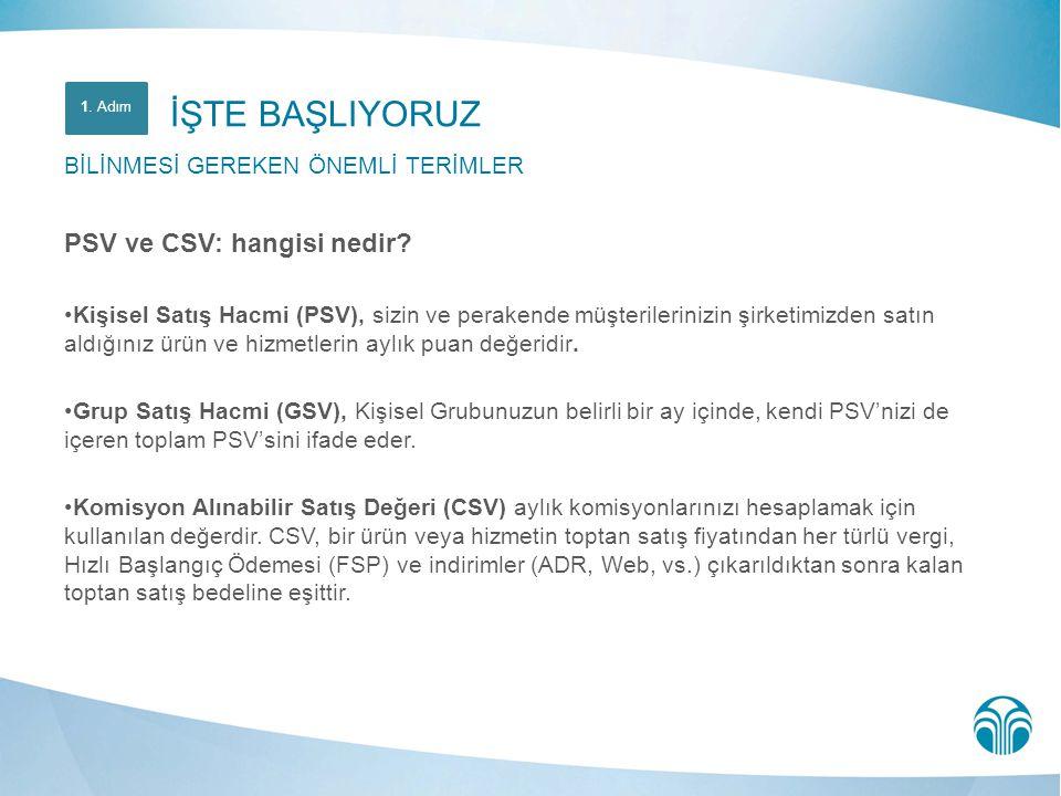 PSV ve CSV: hangisi nedir? •Kişisel Satış Hacmi (PSV), sizin ve perakende müşterilerinizin şirketimizden satın aldığınız ürün ve hizmetlerin aylık pua