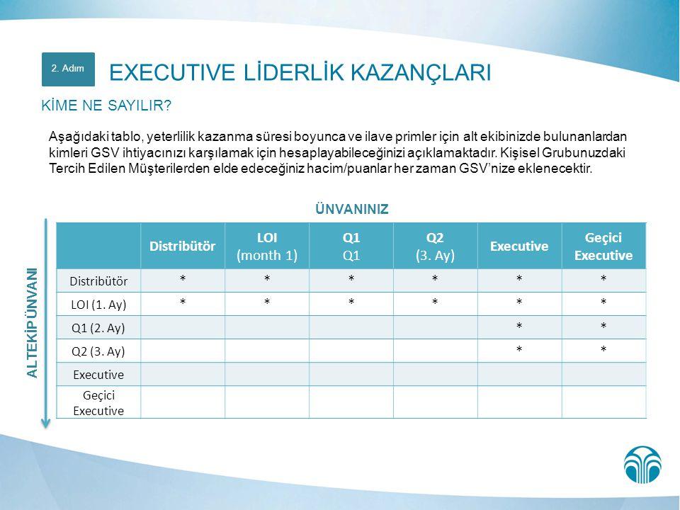 ÜNVANINIZ Distribütör LOI (month 1) Q1 Q2 (3. Ay) Executive Geçici Executive Distribütör ****** LOI (1. Ay) ****** Q1 (2. Ay) ** Q2 (3. Ay) ** Executi