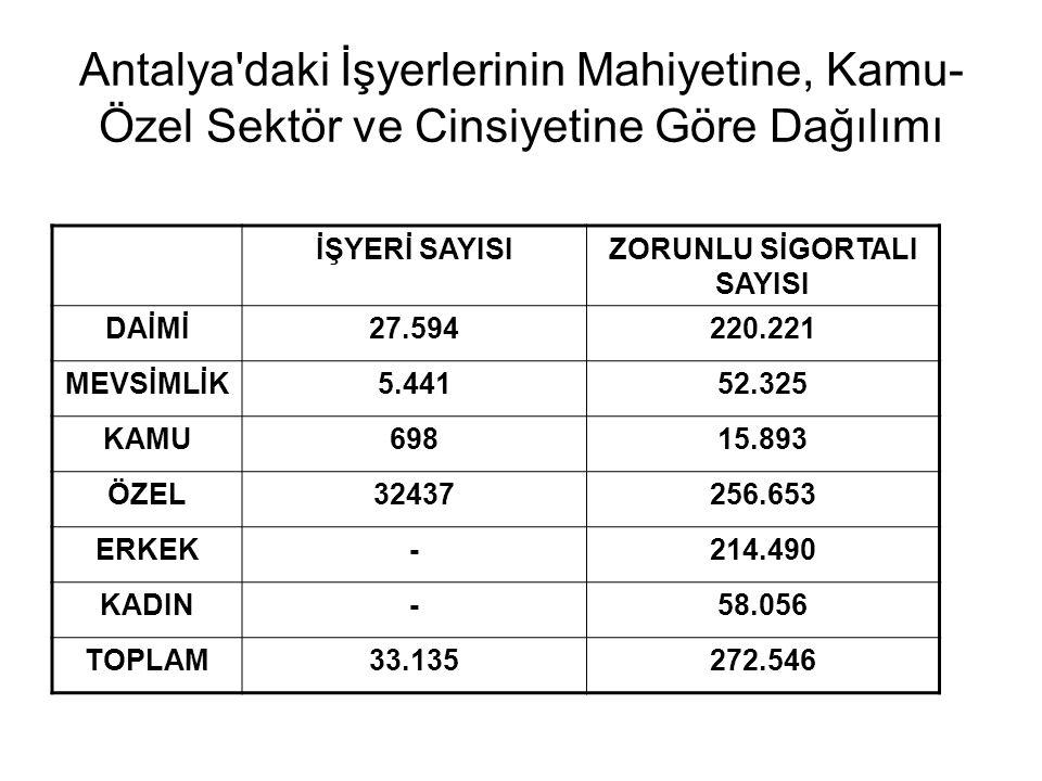 Antalya daki İşyerlerinin Mahiyetine, Kamu- Özel Sektör ve Cinsiyetine Göre Dağılımı İŞYERİ SAYISIZORUNLU SİGORTALI SAYISI DAİMİ27.594220.221 MEVSİMLİK5.44152.325 KAMU69815.893 ÖZEL32437256.653 ERKEK-214.490 KADIN-58.056 TOPLAM33.135272.546