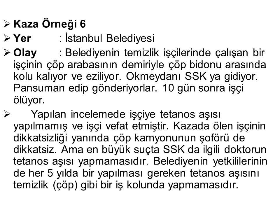  Kaza Örneği 6  Yer: İstanbul Belediyesi  Olay : Belediyenin temizlik işçilerinde çalışan bir işçinin çöp arabasının demiriyle çöp bidonu arasında kolu kalıyor ve eziliyor.