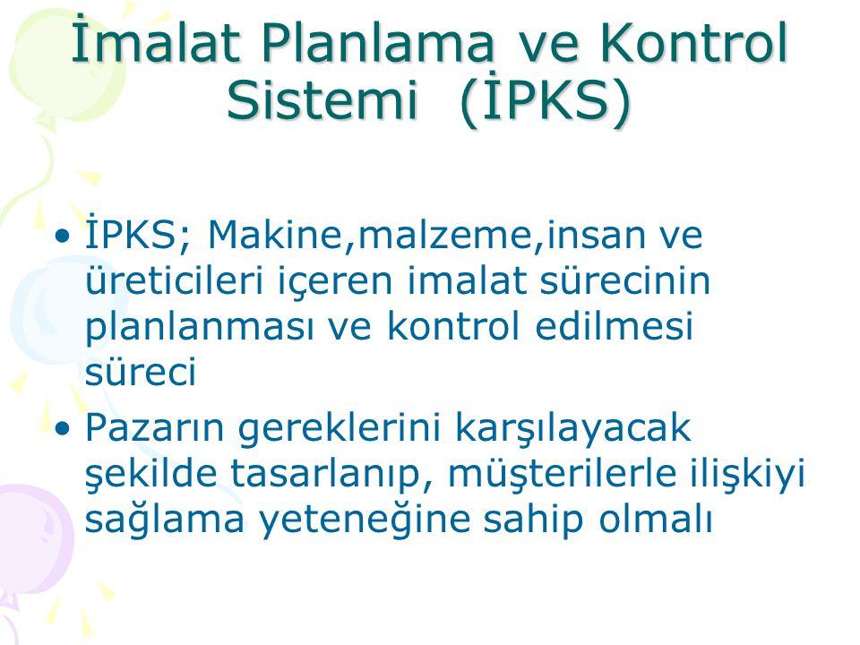 İmalat Planlama ve Kontrol Sistemi (İPKS) •İPKS; Makine,malzeme,insan ve üreticileri içeren imalat sürecinin planlanması ve kontrol edilmesi süreci •P