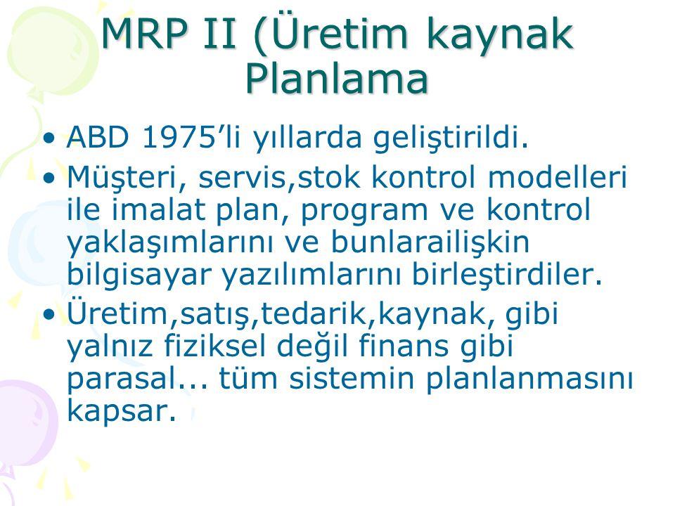 MRP II (Üretim kaynak Planlama •ABD 1975'li yıllarda geliştirildi. •Müşteri, servis,stok kontrol modelleri ile imalat plan, program ve kontrol yaklaşı