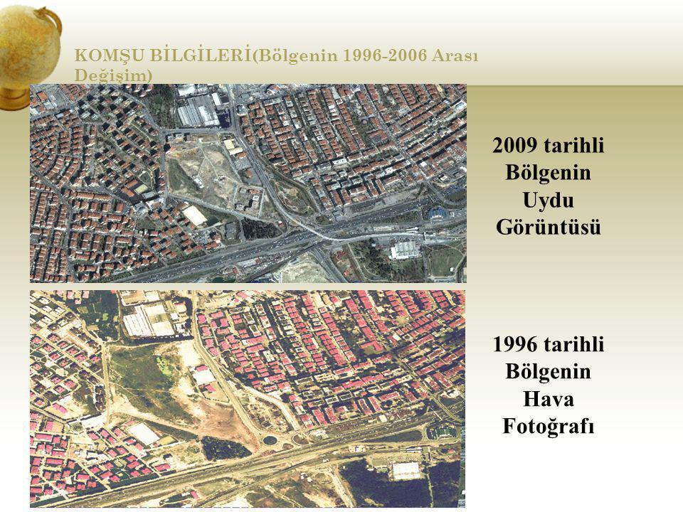 KOMŞU BİLGİLERİ(Bölgenin 1996-2006 Arası Değişim) 1996 tarihli Bölgenin Hava Fotoğrafı 2009 tarihli Bölgenin Uydu Görüntüsü