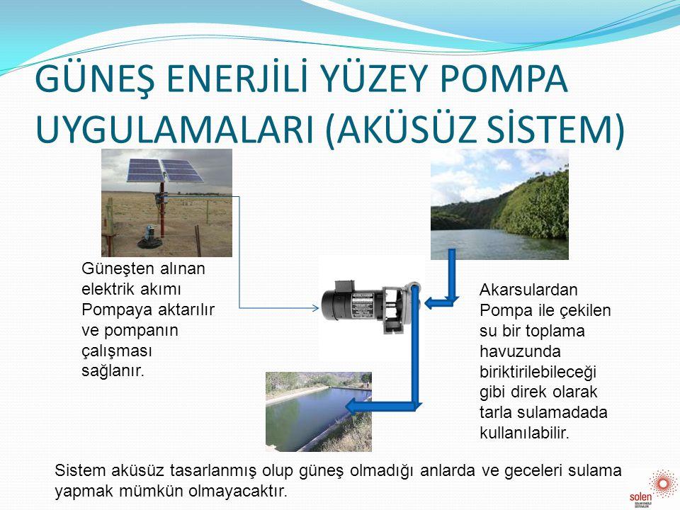 GÜNEŞ ENERJİLİ YÜZEY POMPA UYGULAMALARI (AKÜSÜZ SİSTEM) Güneşten alınan elektrik akımı Pompaya aktarılır ve pompanın çalışması sağlanır. Akarsulardan