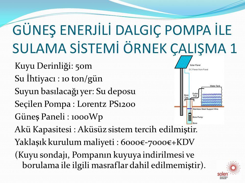 GÜNEŞ ENERJİLİ DALGIÇ POMPA İLE SULAMA SİSTEMİ ÖRNEK ÇALIŞMA 2 • Kuyu Derinliği: 20m • Su İhtiyacı: 90 ton/gün • Suyun Basılacağı yer : Su deposu • Seçilen Pompa : Lorentz PS 1800 • Güneş Paneli : 1800Wp • Akü Kapasitesi: Aküsüz sistem düşünülmüştür.