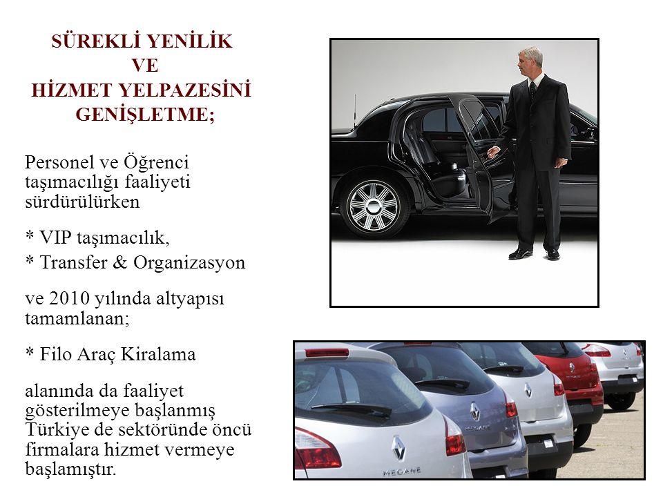 Personel ve Öğrenci taşımacılığı faaliyeti sürdürülürken * VIP taşımacılık, * Transfer & Organizasyon ve 2010 yılında altyapısı tamamlanan; * Filo Ara
