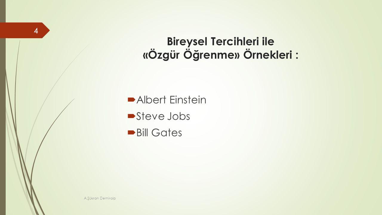 Bireysel Tercihleri ile «Özgür Öğrenme» Örnekleri :  Albert Einstein  Steve Jobs  Bill Gates A.Şükran Demiralp 4