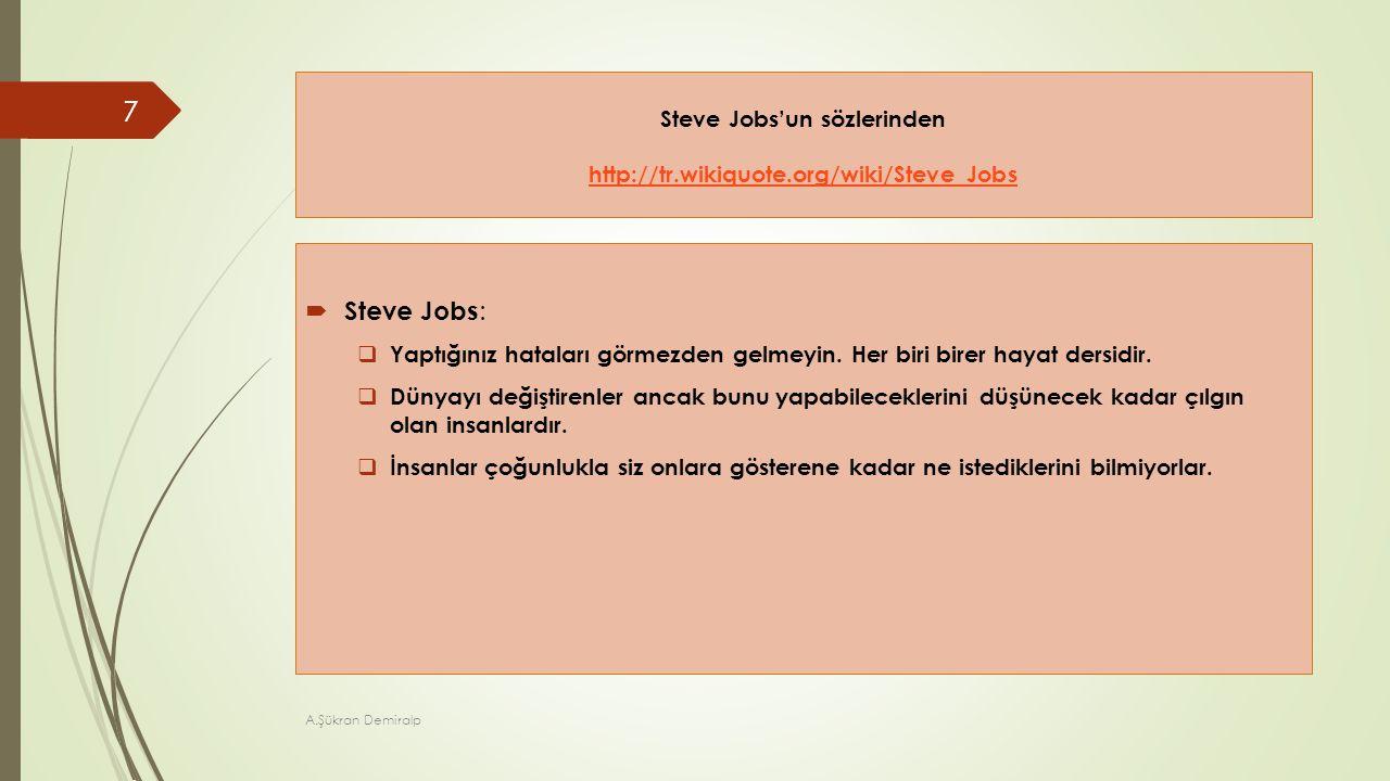 Steve Jobs'un sözlerinden http://tr.wikiquote.org/wiki/Steve_Jobs http://tr.wikiquote.org/wiki/Steve_Jobs  Steve Jobs :  Yaptığınız hataları görmezd