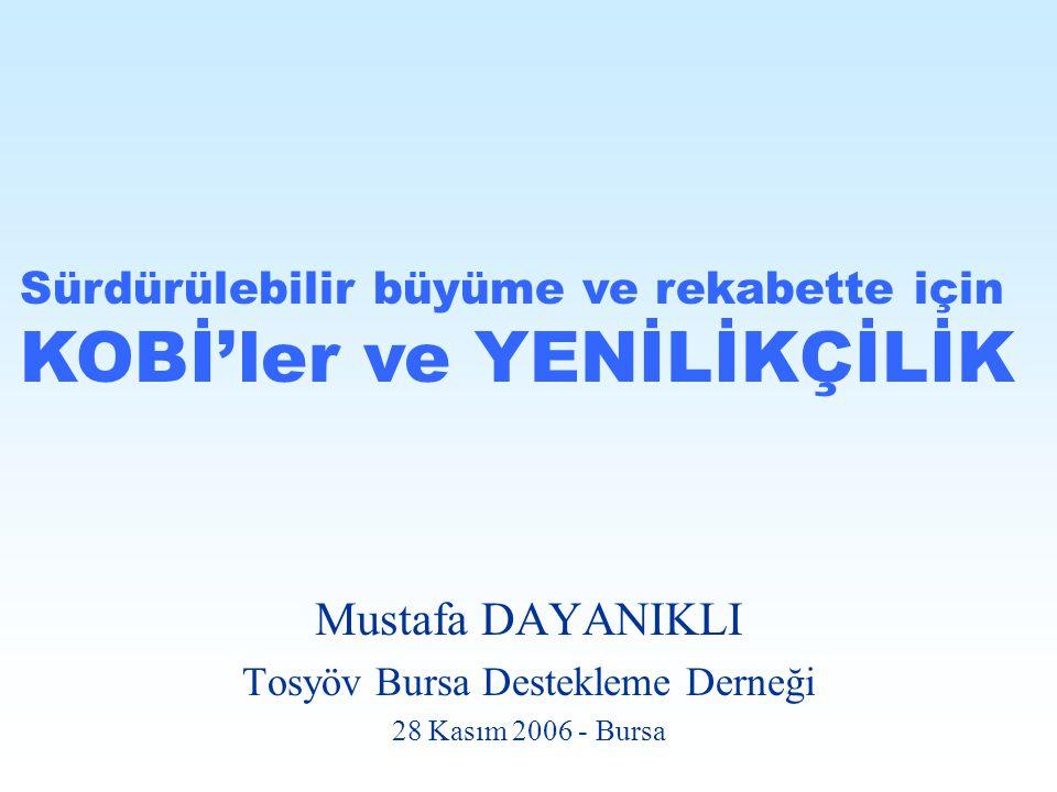 Mustafa DAYANIKLI Tosyöv Bursa Destekleme Derneği 28 Kasım 2006 - Bursa Sürdürülebilir büyüme ve rekabette için KOBİ'ler ve YENİLİKÇİLİK