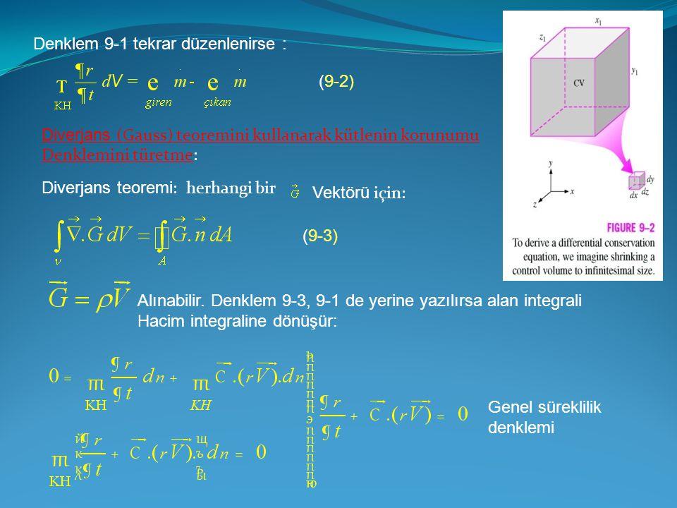 Denklem 9-1 tekrar düzenlenirse : Diverjans (Gauss) teoremini kullanarak kütlenin korunumu Denklemini türetme: Diverjans teoremi : herhangi bir Vektör
