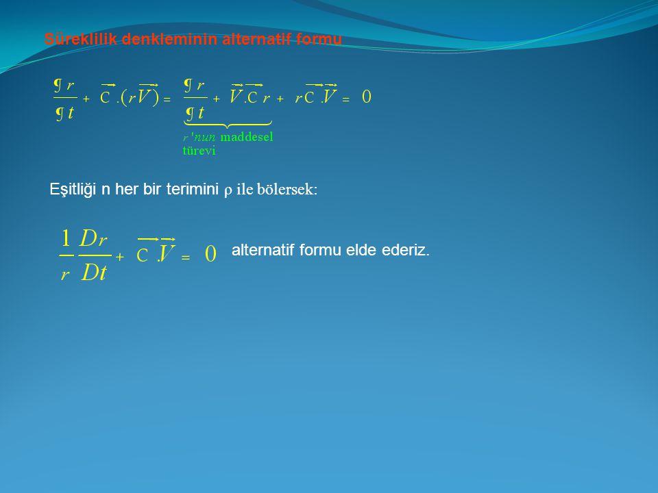 Süreklilik denkleminin alternatif formu Eşitliği n her bir terimini ρ ile bölersek: alternatif formu elde ederiz.