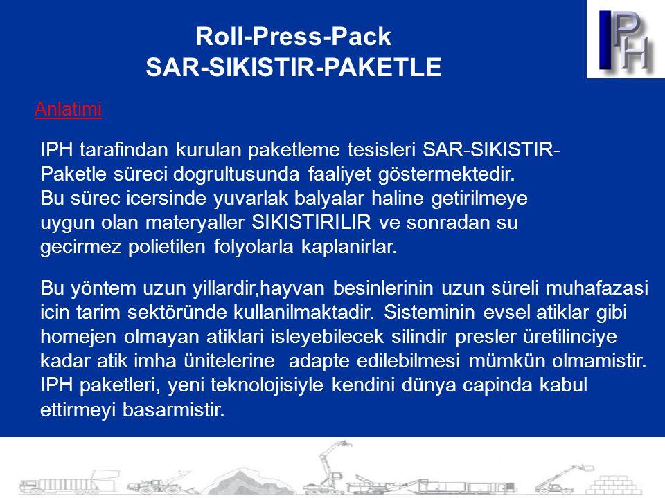 Roll-Press-Pack SAR-SIKISTIR-PAKETLE Anlatimi IPH tarafindan kurulan paketleme tesisleri SAR-SIKISTIR- Paketle süreci dogrultusunda faaliyet göstermek