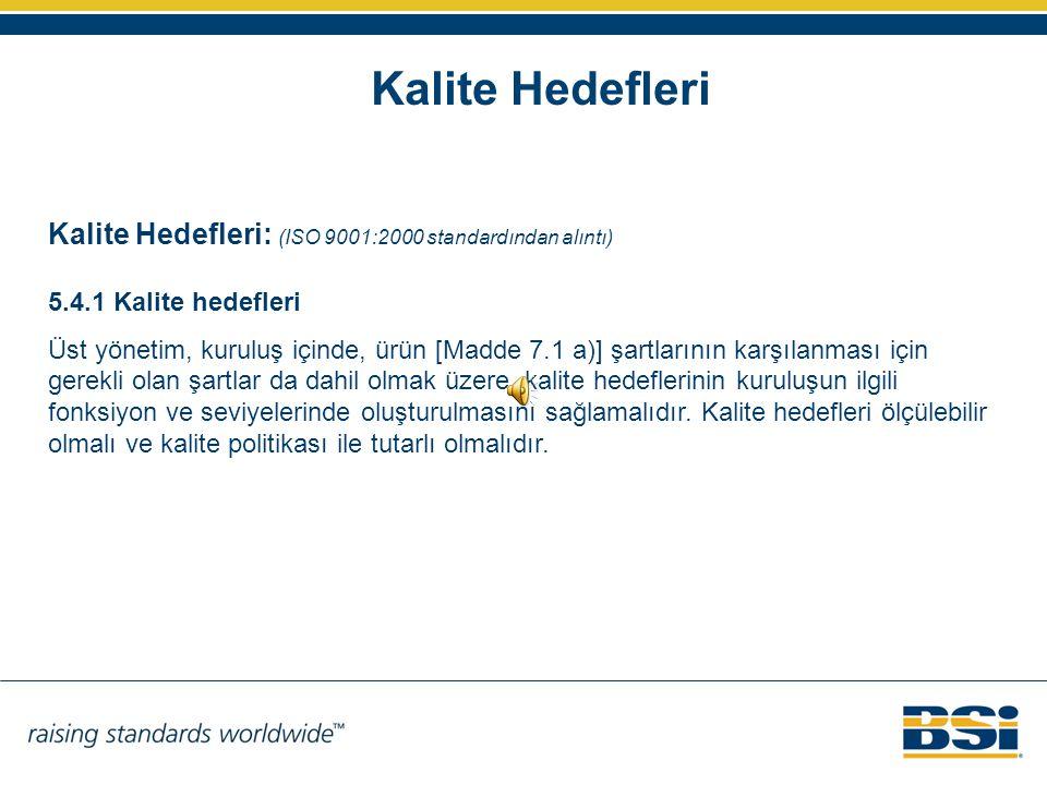 Kalite Hedefleri Kalite Hedefleri: (ISO 9001:2000 standardından alıntı) 5.4.1 Kalite hedefleri Üst yönetim, kuruluş içinde, ürün [Madde 7.1 a)] şartla