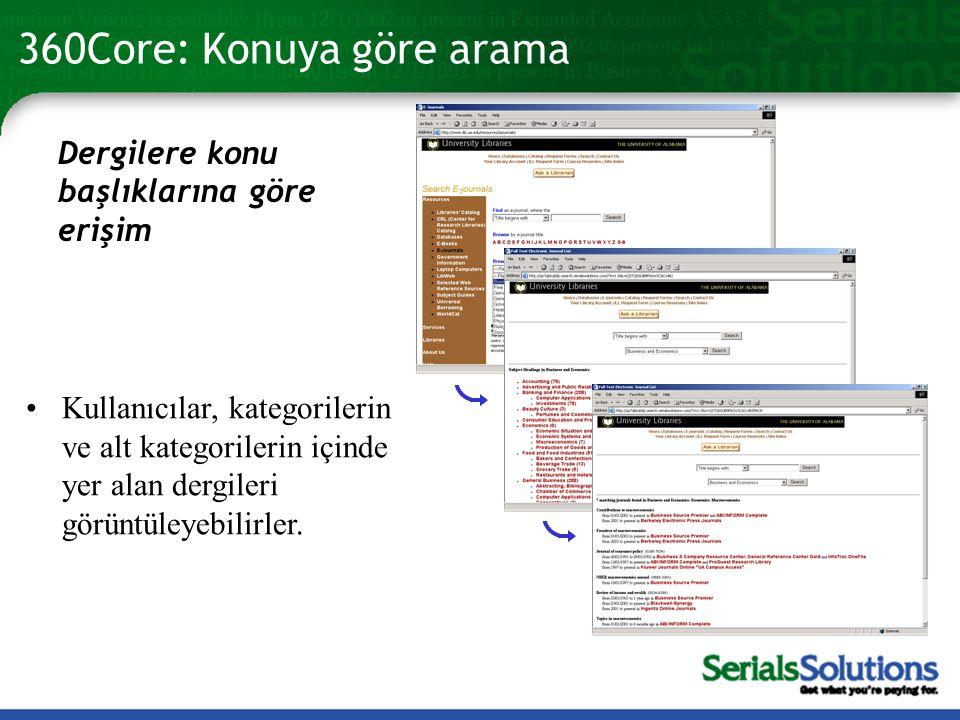 360Core: Konuya göre arama Dergilere konu başlıklarına göre erişim •Kullanıcılar, kategorilerin ve alt kategorilerin içinde yer alan dergileri görüntüleyebilirler.