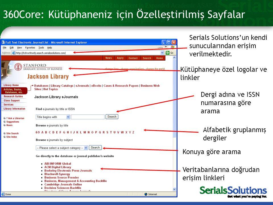 360Core: Kütüphaneniz için Özelleştirilmiş Sayfalar Serials Solutions'un kendi sunucularından erişim verilmektedir. Kütüphaneye özel logolar ve linkle