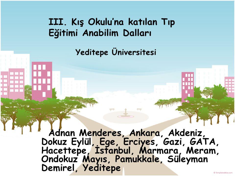 Adnan Menderes, Ankara, Akdeniz, Dokuz Eylül, Ege, Erciyes, Gazi, GATA, Hacettepe, İstanbul, Marmara, Meram, Ondokuz Mayıs, Pamukkale, Süleyman Demire