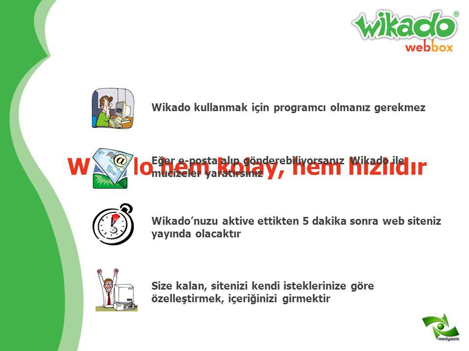 Web siteniz için gereken her şey Wikado paketinin içindedir Hazır, kolayca yönetilip, güncellenebilen yabancı dil destekli Wikado Web Sitesi www.domai