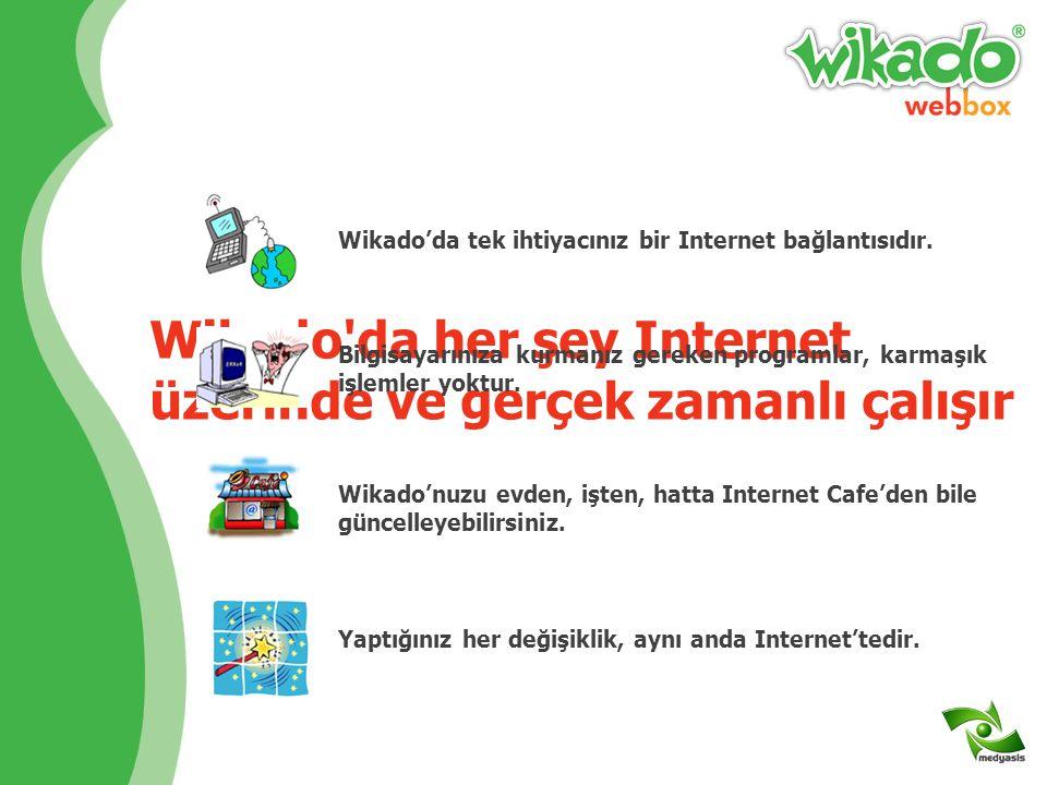 Wikado hem kolay, hem hızlıdır Wikado kullanmak için programcı olmanız gerekmez Eğer e-posta alıp gönderebiliyorsanız Wikado ile mucizeler yaratırsınız Wikado'nuzu aktive ettikten 5 dakika sonra web siteniz yayında olacaktır Size kalan, sitenizi kendi isteklerinize göre özelleştirmek, içeriğinizi girmektir