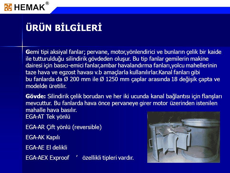 8 ÜRÜN BİLGİLERİ Pervane: Korozyona dayanıklı aerodinamik yapıda alüminyumdan,çelikten ve PVC esaslı malzemelerden üretilir.