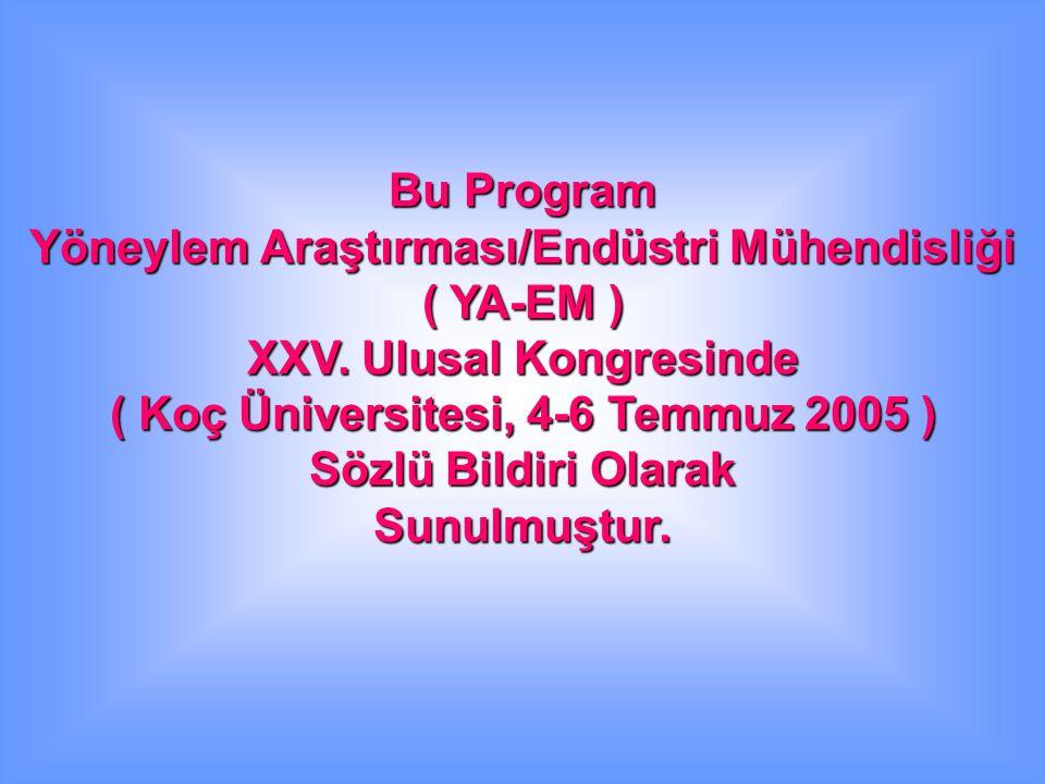Bu Program Yöneylem Araştırması/Endüstri Mühendisliği ( YA-EM ) XXV. Ulusal Kongresinde ( Koç Üniversitesi, 4-6 Temmuz 2005 ) Sözlü Bildiri Olarak Sun
