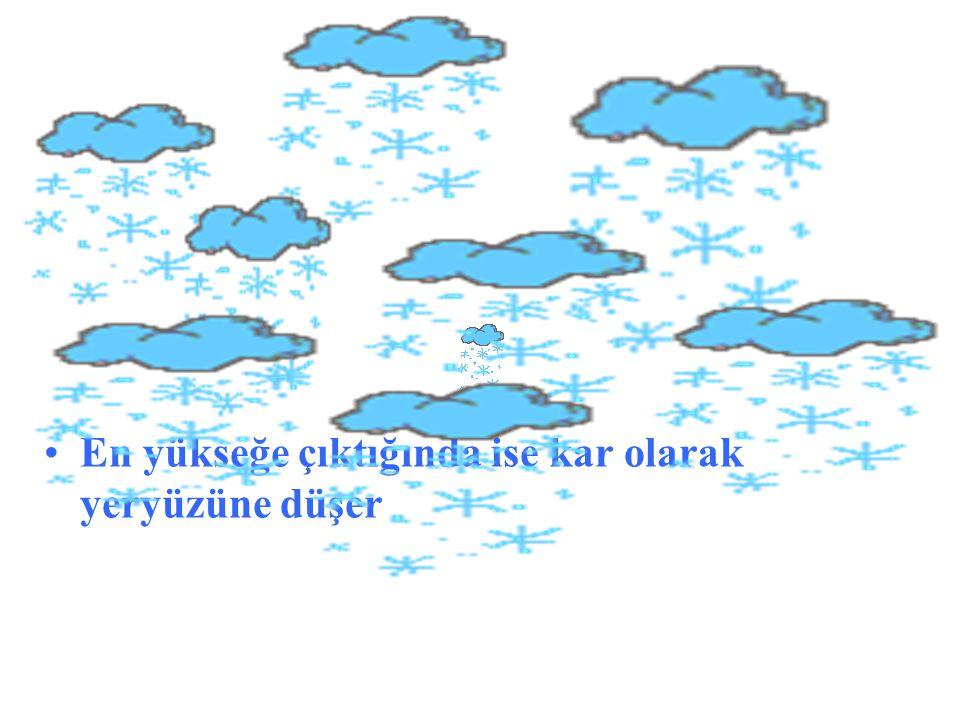 •En yükseğe çıktığında ise kar olarak yeryüzüne düşer