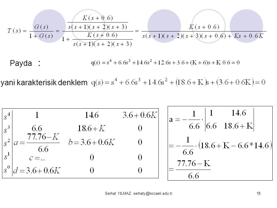 Serhat YILMAZ, serhaty@kocaeli.edu.tr18 Payda : yani karakterisik denklem