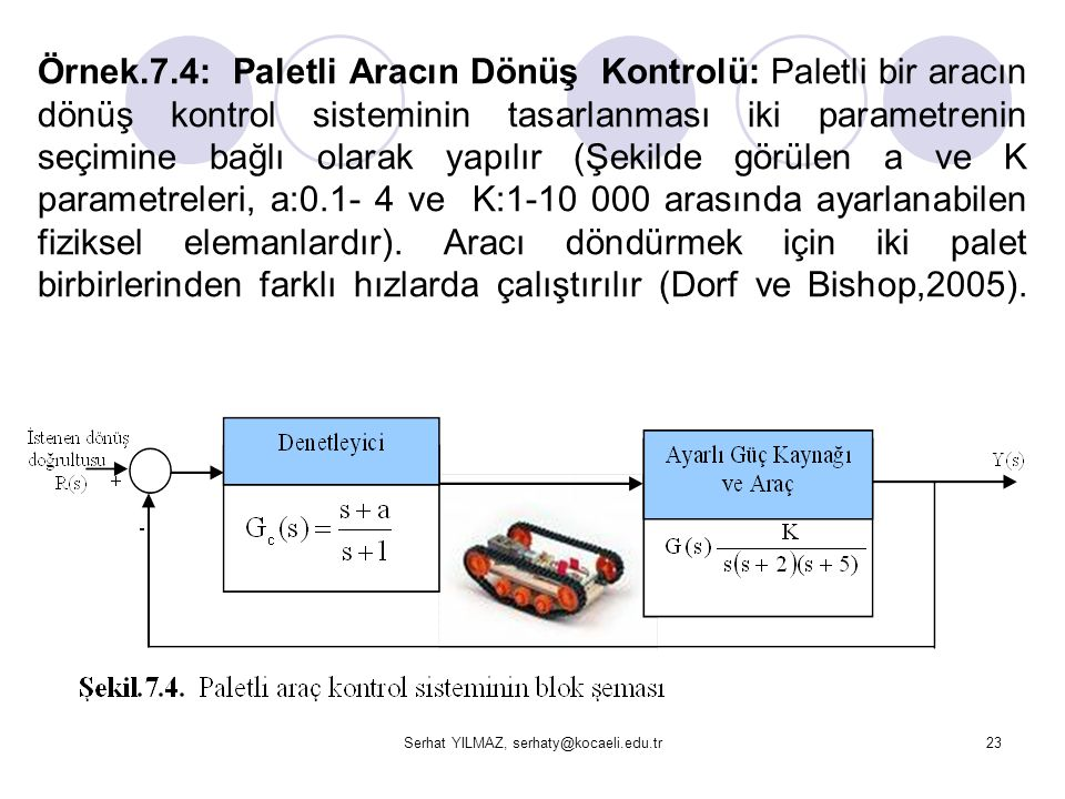 Serhat YILMAZ, serhaty@kocaeli.edu.tr23 Örnek.7.4: Paletli Aracın Dönüş Kontrolü: Paletli bir aracın dönüş kontrol sisteminin tasarlanması iki paramet