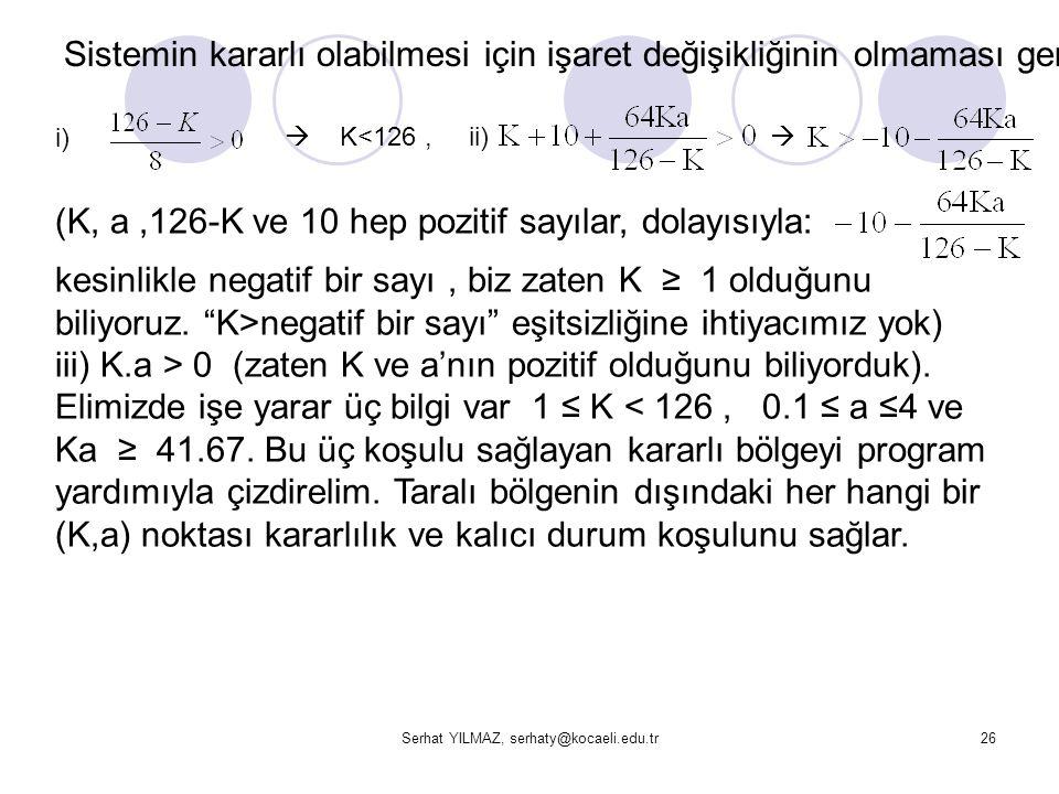 Serhat YILMAZ, serhaty@kocaeli.edu.tr26 Sistemin kararlı olabilmesi için işaret değişikliğinin olmaması gerekir. i)  K<126, ii)  (K, a,126-K ve 10 h
