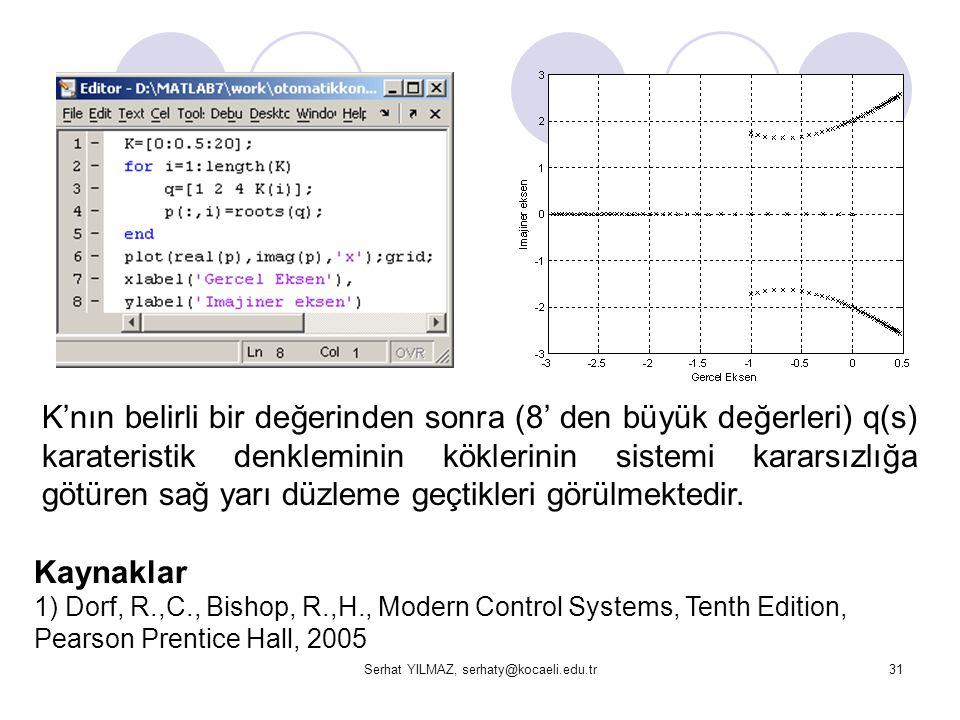 Serhat YILMAZ, serhaty@kocaeli.edu.tr31 K'nın belirli bir değerinden sonra (8' den büyük değerleri) q(s) karateristik denkleminin köklerinin sistemi k