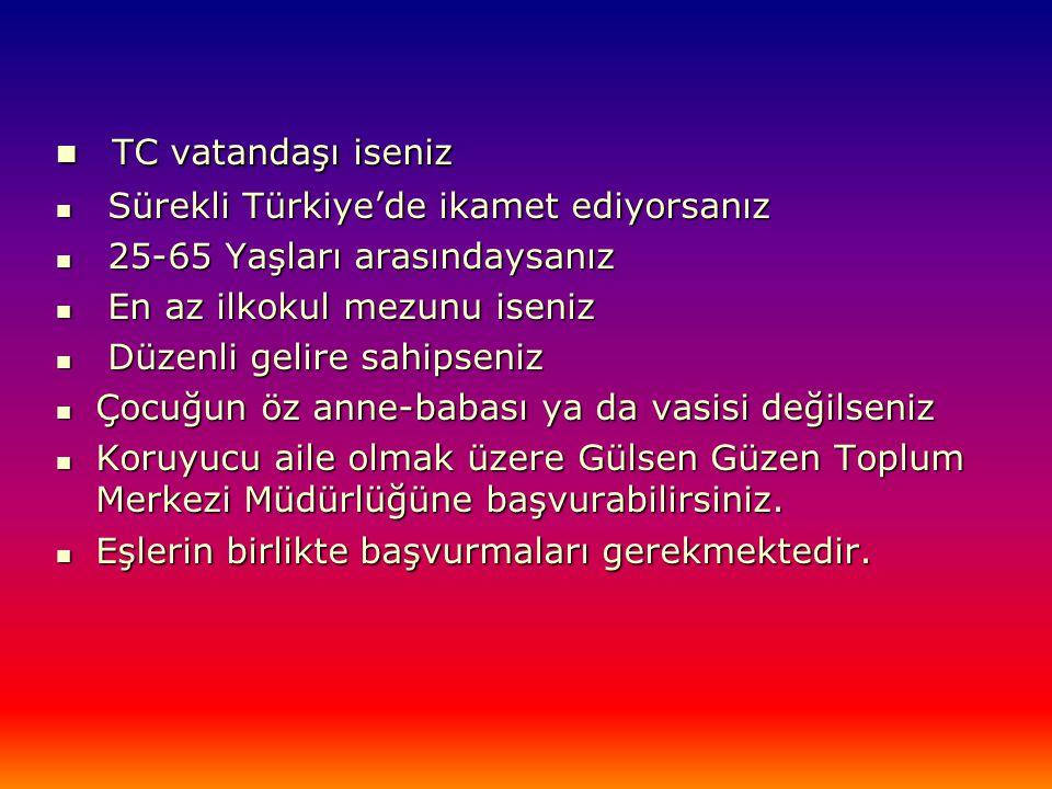  TC vatandaşı iseniz  Sürekli Türkiye'de ikamet ediyorsanız  25-65 Yaşları arasındaysanız  En az ilkokul mezunu iseniz  Düzenli gelire sahipseniz  Çocuğun öz anne-babası ya da vasisi değilseniz  Koruyucu aile olmak üzere Gülsen Güzen Toplum Merkezi Müdürlüğüne başvurabilirsiniz.