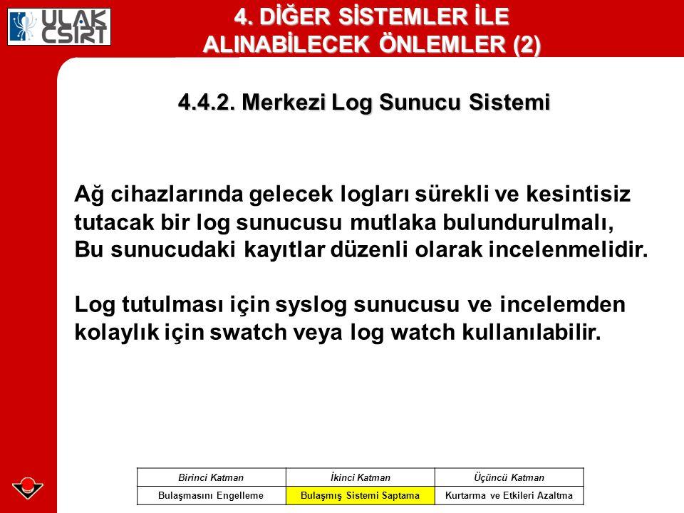 4.4.2. Merkezi Log Sunucu Sistemi Birinci Katmanİkinci KatmanÜçüncü Katman Bulaşmasını EngellemeBulaşmış Sistemi SaptamaKurtarma ve Etkileri Azaltma 4
