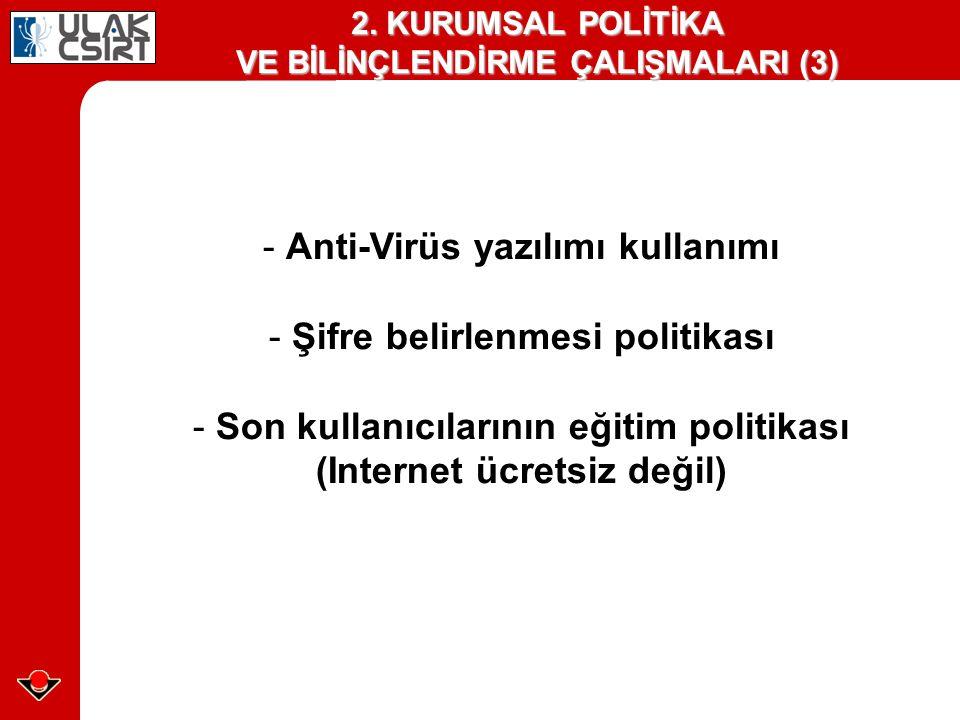 - Anti-Virüs yazılımı kullanımı - Şifre belirlenmesi politikası - Son kullanıcılarının eğitim politikası (Internet ücretsiz değil) 2. KURUMSAL POLİTİK