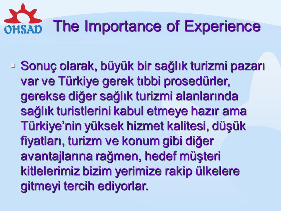 The Importance of Experience  Sonuç olarak, büyük bir sağlık turizmi pazarı var ve Türkiye gerek tıbbi prosedürler, gerekse diğer sağlık turizmi alan