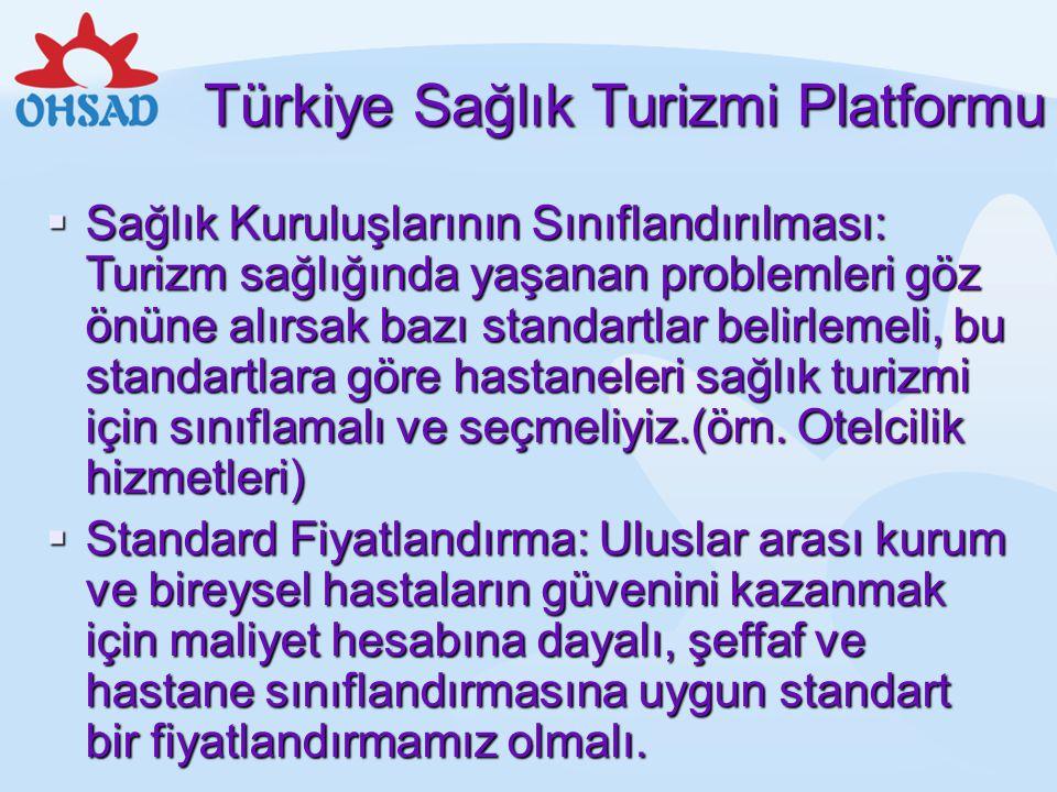 Türkiye Sağlık Turizmi Platformu  Sağlık Kuruluşlarının Sınıflandırılması: Turizm sağlığında yaşanan problemleri göz önüne alırsak bazı standartlar b