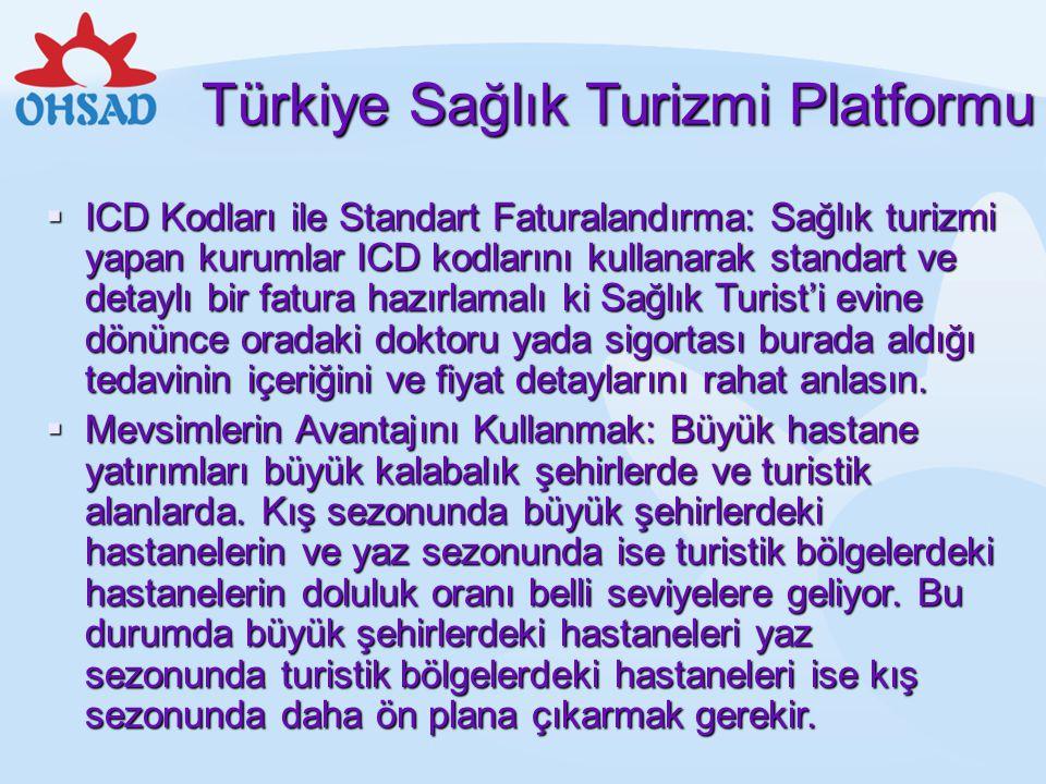 Türkiye Sağlık Turizmi Platformu  ICD Kodları ile Standart Faturalandırma: Sağlık turizmi yapan kurumlar ICD kodlarını kullanarak standart ve detaylı