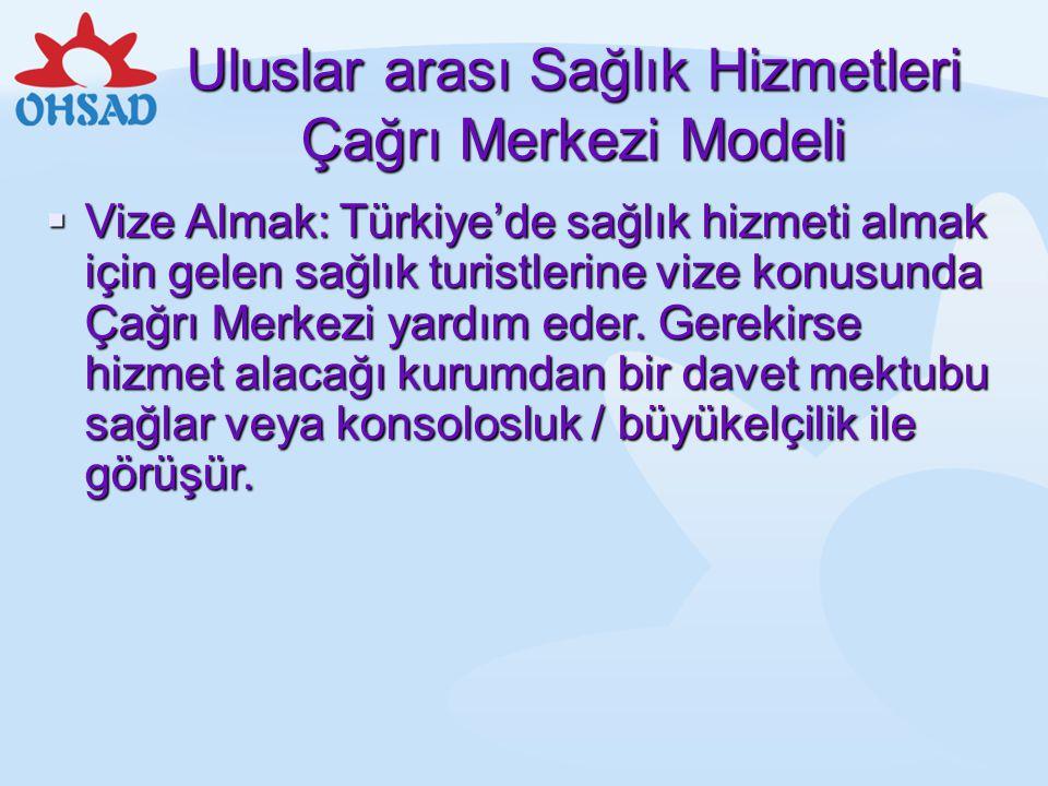 Uluslar arası Sağlık Hizmetleri Çağrı Merkezi Modeli  Vize Almak: Türkiye'de sağlık hizmeti almak için gelen sağlık turistlerine vize konusunda Çağrı