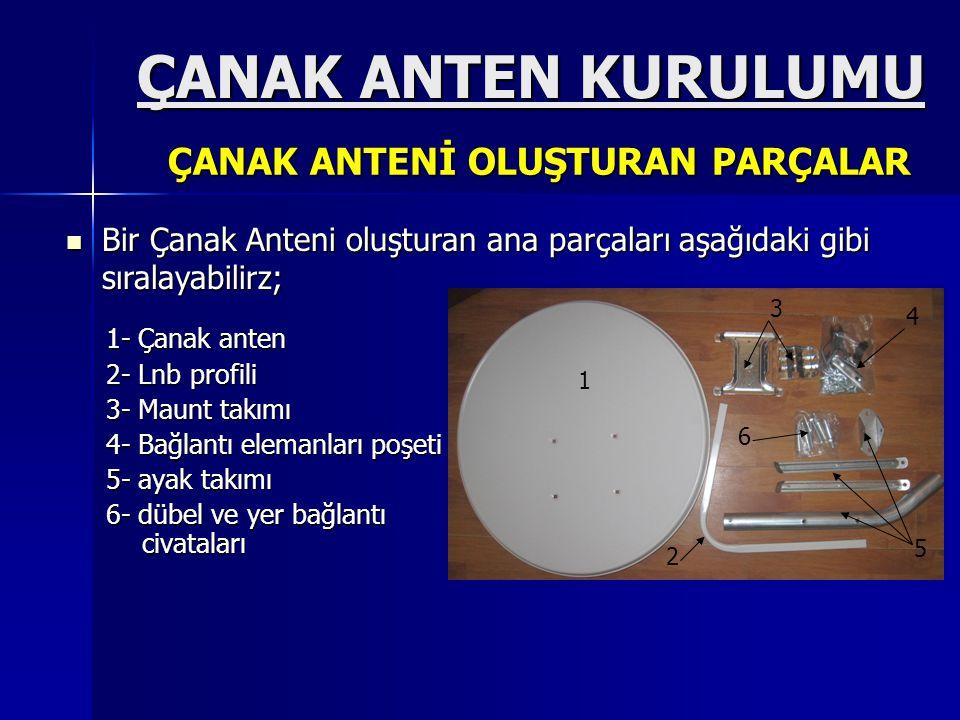 ÇANAK ANTEN KURULUMU ÇANAK ANTEN KURULUMU 1- Çanak anten 2- Lnb profili 3- Maunt takımı 4- Bağlantı elemanları poşeti 5- ayak takımı 6- dübel ve yer b