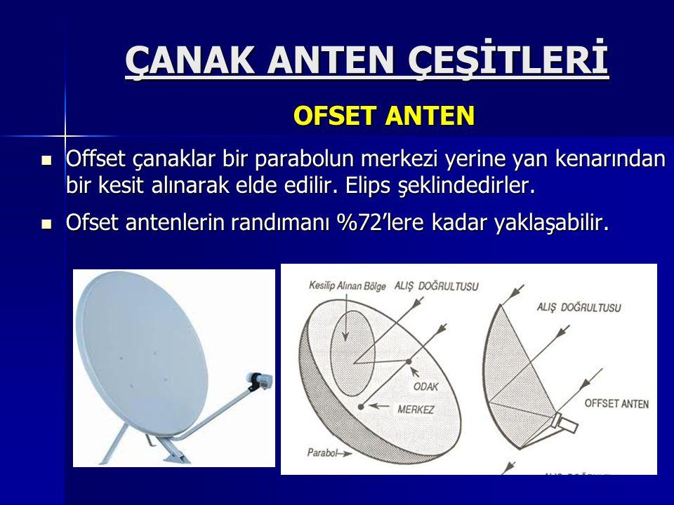 ÇANAK ANTEN ÇEŞİTLERİ  Offset çanaklar bir parabolun merkezi yerine yan kenarından bir kesit alınarak elde edilir. Elips şeklindedirler.  Ofset ante