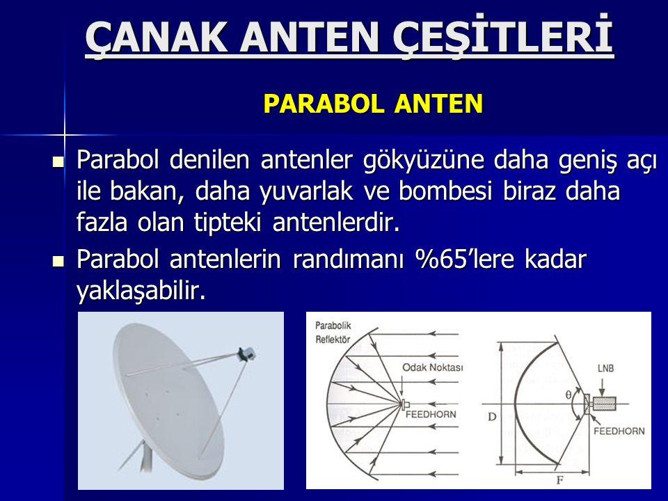  Parabol denilen antenler gökyüzüne daha geniş açı ile bakan, daha yuvarlak ve bombesi biraz daha fazla olan tipteki antenlerdir.  Parabol antenleri