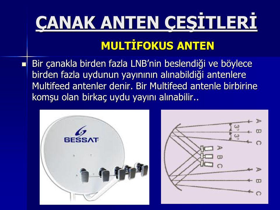  Bir çanakla birden fazla LNB'nin beslendiği ve böylece birden fazla uydunun yayınının alınabildiği antenlere Multifeed antenler denir. Bir Multifeed