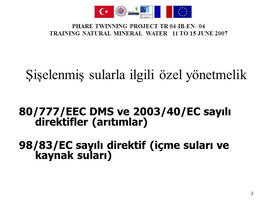 PHARE TWINNING PROJECT TR 04-IB-EN- 04 TRAINING NATURAL MINERAL WATER 11 TO 15 JUNE 2007 14 852/2004 sayılı kural IYI UYGULAMALAR IÇIN KILAVUZ Hijyenle ilgili iyi uygulamalar ve HACCP ilkelerinin uygulanması için ulusal kılavuzların hazırlanması.