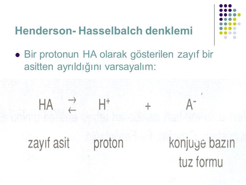 Henderson- Hasselbalch denklemi  Bir protonun HA olarak gösterilen zayıf bir asitten ayrıldığını varsayalım: