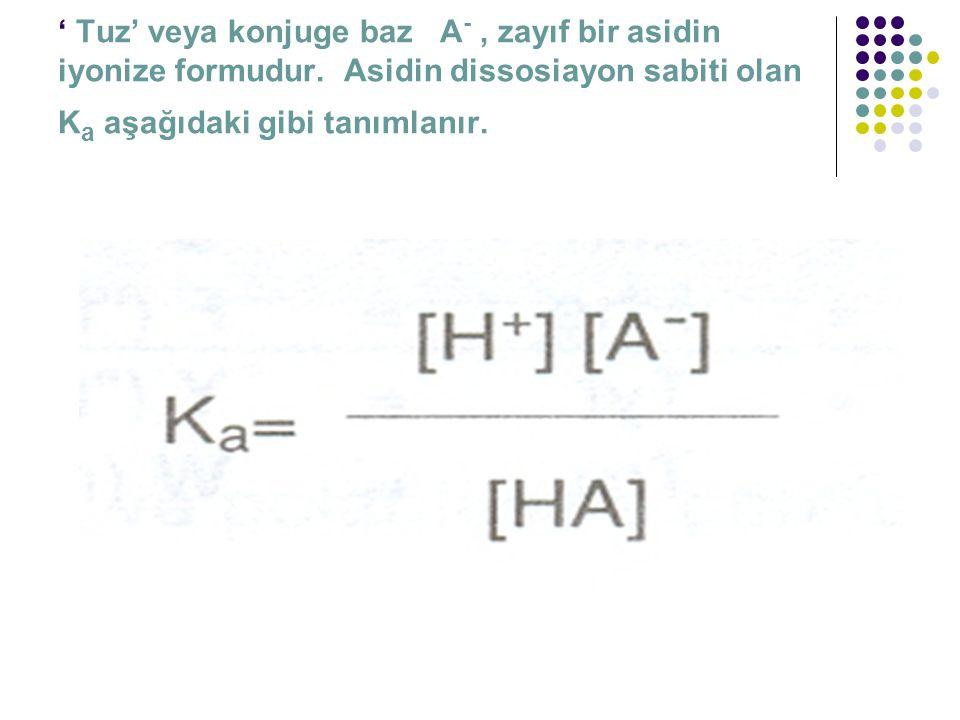 ' Tuz' veya konjuge baz A -, zayıf bir asidin iyonize formudur. Asidin dissosiayon sabiti olan K a aşağıdaki gibi tanımlanır.